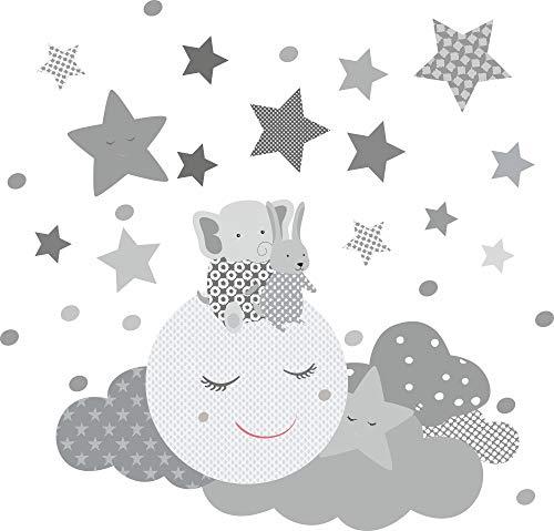 greenluup Öko Wandsticker Grau Wandtattoo schlafender Mond Elefant Sterne Wolken Kinderzimmer Babyzimmer (Grau)