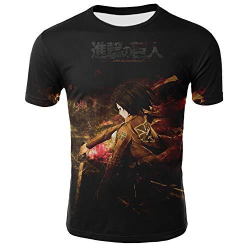 RJHWY 3D T-Shirt Mit Rundhalsausschnitt Fruit of The Loom Schwere kurzärmlige Unisex-Anime-Sommer Unterhemd Attack On Titans