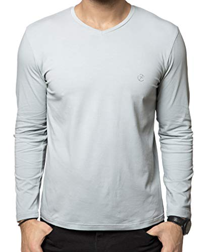 Zeyo Mens V Neck Full Sleeve Tshirt Grey Regular Fit Plain Logo T-Shirt