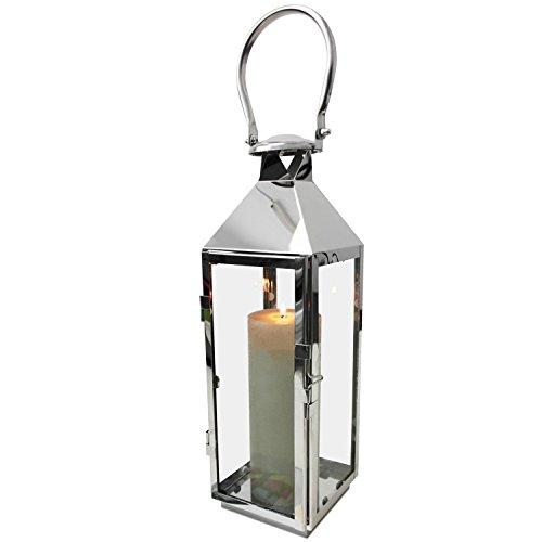 Edelstahl Laterne in Silber H40cm Gartenlaterne Windlicht mit Henkel Edelstahlgestell mit Glasfenstern Kerzenhalter