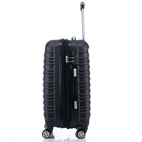 Reisekoffer 2088 Hartschalekoffer Gepäck Koffer Trolley Bordcase Handgepäck M in 14 Farben (Schwarz) - 6