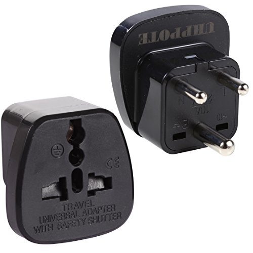 UHPPOTE Type D 3-Pin Prong Travel Trip Journey Adaptor Adapter for India Nepal Bhutan Sri Lanka Pakistan (Pack of 2)