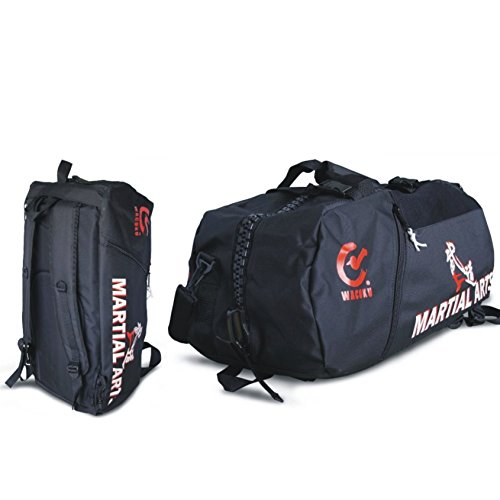 "BAY® ""55x30 medium"" Sporttasche ""Martial Arts"" im Rucksack Syte shoulder bag Kickboxen Kick-Boxen, Kampfsport, Budo, MMA, Thaiboxen Muay Thai, Tasche, Trainingstasche, Kickboxtasche Bag, schwarz, Rucksack Rucksacktasche Kombietasche Kampfsporttasche Judo Karate Cross Body Bag Kung Fu Ju-Jutsu Taekwondo UFC Freefight Fighter Aikido"