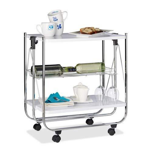 Relaxdays Servierwagen klappbar Weiß - 4 Rollen, Metall, 2 Böden, Korb - Küchenrollwagen - in drei Farben wählbar