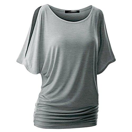 Hibote Femme Chemises Tshirt en coton oversize Baggy Tops chemise de batte Manches courtes Top Sexy col rond Chemisier Pull en vrac doux confortable 10 couleurs S-5XL gris clair