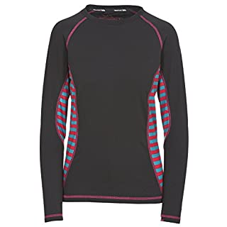 Trespass Arise, Raspberry Stripe, XXS, Longsleeved Quick Dry Baselayer Top for Women, XX-Small / 2X-Small / 2XS, Pink