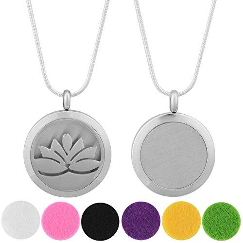 Eudora Harmony Pendentif collier Lotus boîte à parfum Argent Pour aromathérapie Huile essentielle avec 6compresses Chaîne 61cm Multicolore