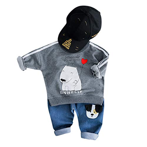 MRULIC Reizender Baby Playsuit Overall Kaninchen Ohr Badysuit stellt Outfit Pullover Jumper Herbst Frühlings Oberbekleidung Langhülse Knopf unten Hosen EIN (85-90CM, A5-Grau)