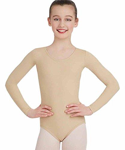 Mädchen Baumwolle Langarm Trikots dehnbar Tanz / Gymnastik / Ballett Sport Farbe & Größen (ref: 3350) (7-8 Jahre(Years), Bräune(Tan))
