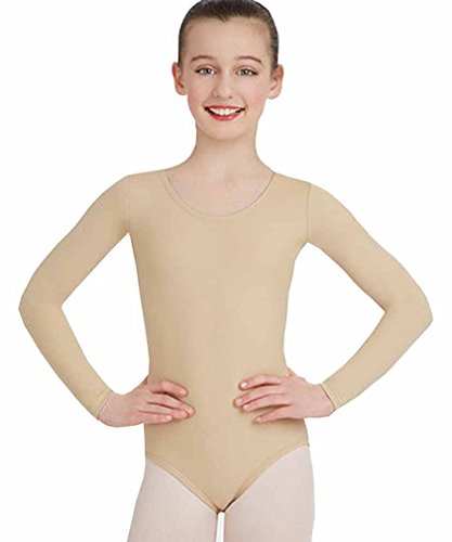 Mädchen Baumwolle Langarm Trikots dehnbar Tanz / Gymnastik / Ballett Sport Farbe & Größen(Girl's Longsleeve Bodysuit) (9-10 Jahre(Years), Tan(Tan))