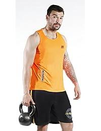 Fitwise de tirantes para hombre de gimnasio y fitness Top Training sin mangas camisas, color naranja, hombre, naranja, small