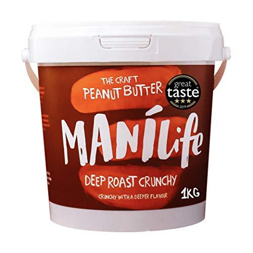 ManiLife Erdnussbutter - Peanut Butter - Alles Natürlich, ein Anbaugebiet, ohne Zuckerzusatz, ohne Palmöl - Deep Roast Crunchy - (1 x 1kg)