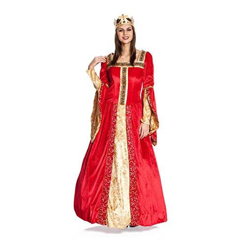 Kostümplanet® Königin-Kostüm Damen Deluxe Königinnen-Kostüm Mittelalter Größe (Erwachsene Samt König Krone)