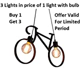 #5: Eisa Vintage Edison Tungsten Decorative Cycle Shape Ceiling Hanging Pendent Light (Without Bulb) (Black)