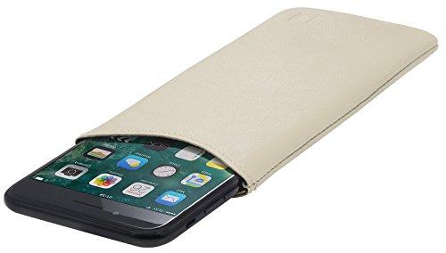 StilGut Pouch, Universal-Hülle aus feinstem Nappaleder | Sleeve Handyhülle Größe XL für z.B. iPhone 7 Plus, Samsung Galaxy Note 7, Honor View 10 u.a, Creme Nappa