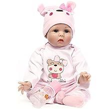 Nicery 22inch renacer de la muñeca de silicona suave Simulación de vinilo 55cm magnética Boca realista juguete lindo niños Rosa Lucy oso con acrílico Ojos Reborn Baby Doll
