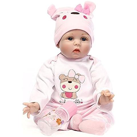 Nicery 22inch renacer de la muñeca de silicona suave Simulación de vinilo 55cm magnética Boca realista juguete lindo niños Rosa Lucy oso con acrílico Ojos Reborn Baby