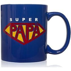 Taza mug desayuno de cerámica azul 32 cl. Modelo Super Papá