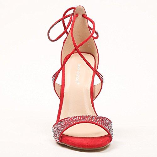 Ideal-Shoes scarpe a estremità aperta, effetto pelle scamosciata e Emelyne di strass incastonati Rosso (rosso)