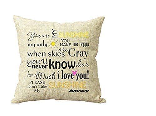 in Sonnenschein Personalisierte 18x18 Zoll-Quadrat Baumwollmischung Leinen Dekokissen Fall Dekor Kissenbezüge Beige (Sie Sind Mein Sonnenschein-dekor)