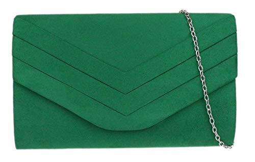 Girly HandBags - Cartera de mano de ante para mujer Verde verde oscuro