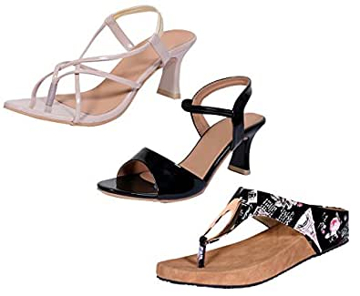 Indistar Women's Footwear Combo Pack(Pack of 2 Women Sandal and 1 Women Flats)-Cream1::Black1-Size-10