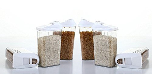 MR Cereal Dispenser Easy Flow Storage Jar 1100 ml 6 Pcs Set, Idle for Kitchen- Storage Box Lid Food Rice Pasta Pulses Container