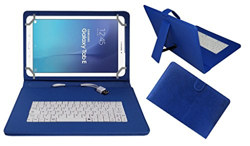 Acm Premium Usb Keyboard Case For Samsung Galaxy Tab E 9.6 Cover Stand With Free Micro Usb Otg – Blue