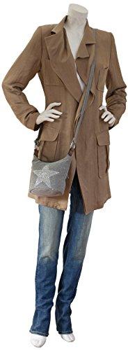 L&S Collection Stern Handtaschen Damen - kleine Umhängetasche - Mini Stern Tasche aus Canvas (16 x 16 x 14 cm) Dunkelgrau Schwarz