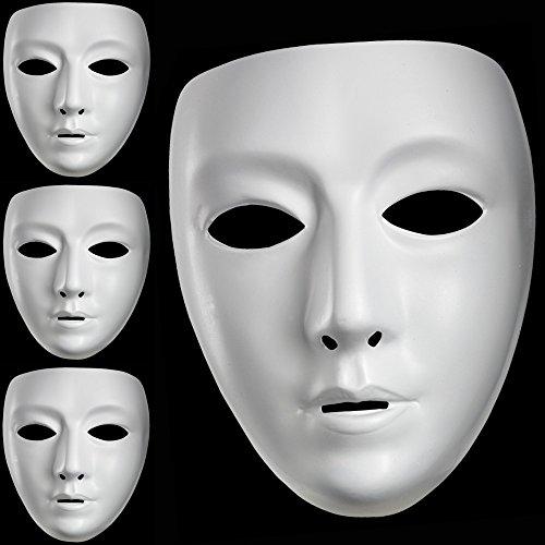 x Neutrale Maske Weiß bemalbar (Weiße Kunststoff-maske)
