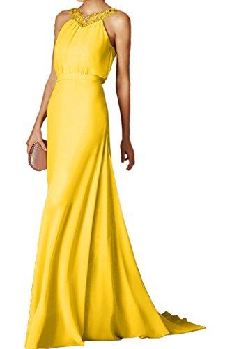 Ivydressing Damen Modern Steine Schleppe Rueckenfrei Chiffon Partykleid Promkleid Festkleid Abendkleid Golden