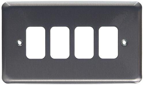Preisvergleich Produktbild MK Grid Plus k3434brc 4-module den FrontplatteChrom gebürstet