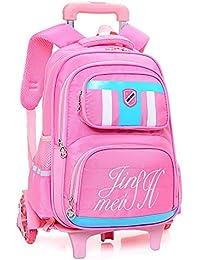 Preisvergleich für QCC& Trolley Schule Rucksack Taschen Mädchen/Junge Sicherheit Reflektierend Rollen Rucksäcke Entfernbar Wasserdicht...