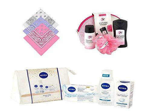 Damen, meine Damen Nivea Haut Caring Kulturbeutel Geschenk Set, Lynx, weiß gemustert & Pink Kulturbeutel Geschenk-Set, 3x Buckingham Bandanas, Damen Weihnachten Geschenke/Weihnachts Behindert für Damen UVP: - (Kosmetik Taschen Gucci)