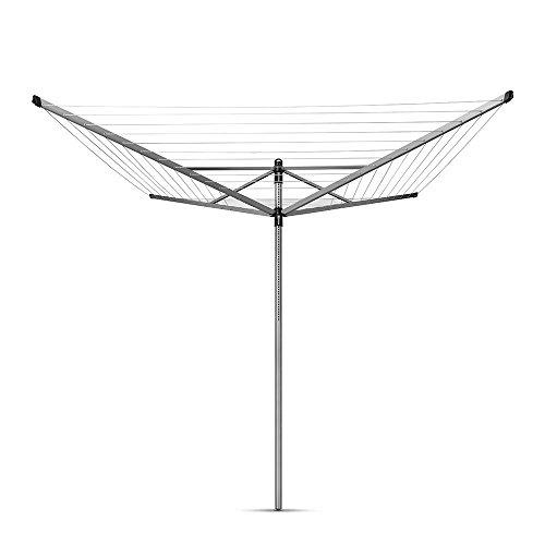 Brabantia 50m Lift-O-Matic Rotary Airer Waschen Linie Metall Boden Speer Metallic-Grau