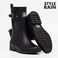 ZQDZYA Wellington Boots,Hao Rubber Ladies Waterproof Section In The Outer Wear Korean Cute Summer Matte Rain Boots Fashion Shoes In The Tube Solid Color Black Tube Pvc Women Wellington Boots
