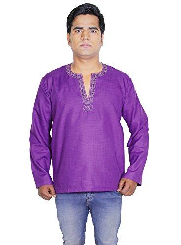 Camicia da uomo kurta cotone abito a maniche lunghe camicia modello om polo di XL