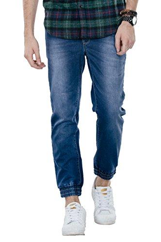Bewakoof Camper Blue Mens Drawstring Denim Joggers Jeans Pants