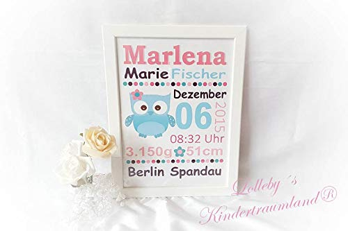 Namensbild - Baby - Kind - Personalisiert - Geburtsgeschenk - Türschild - inkl. Rahmen - Mädchen u. Junge, Taufe, Geschenk