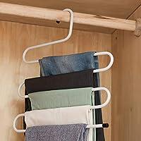 Hilai S-Stil Hosen Aufhänger Mehrschichtige Edelstahl Rack-Space Saver für Tie Schal Shock Jeans-Tuch-Kleidung (weiß) 1 PC