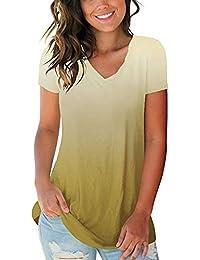 Overdose Camisas para Mujer Ganga Tallas Grandes 5XL Gradient Color Cuello En V Camiseta De Manga Corta Tops Blusa Holgada Venta