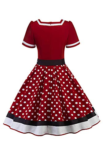 Misshow Swing Kleid Sommer Polka Dots Mädchen Kleider Tellerrock Damen, Weinrot - L - 2