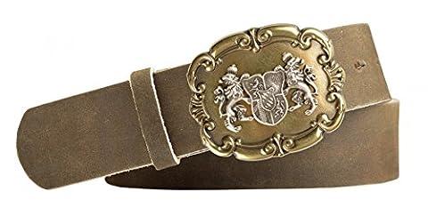 Edler Trachten Rindleder Gürtel mit Druckknopf hellbraun - Wappen Bayern Löwen messing - Geschenk Idee Geburtstag, Länge:105cm