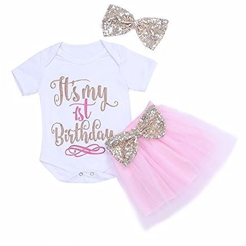 FEESHOW Baby Mädchen Kleidung Set Romper + Tutu Rock + Strirnband Baby Outfits -- 1 Jahr Geburtstag Geschenke Weiß & Rosa 9-12 Monate