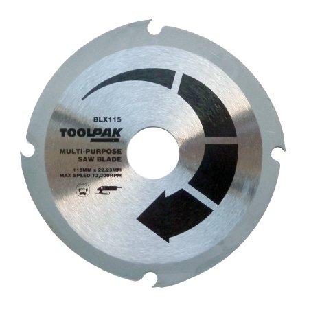 Toolpak Lame de scie pour meuleuse d'angle 115 mm Pour découpe de bois Lame multi-usages Coupe plastique, panneaux de fibre, MDF et fibre de verre