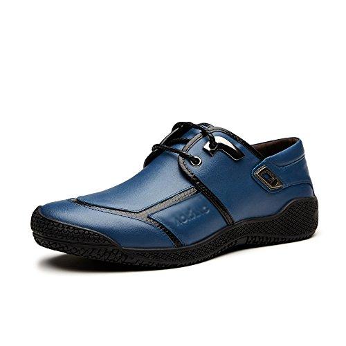RENHONG True Leather Schuhe Herren Frühling Sommer Gelb Blau Driving Pattern Low Top Casual Formal Derby Oxford Spitze Loafers Bullock Schuhe,Blue-26.5(cm)=10.43(inch)=EU42=7.5UK=Label(43) (Top Driving-schuhe)