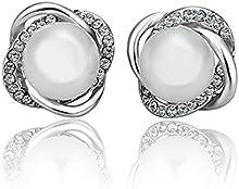 LDUDU® Pendientes de mujer perla blanco con Cristal Swaroski/ Circonita chapado de oro blanco de 18k regalo de Cumpleaños Navidad San Valentin Boda color blanco