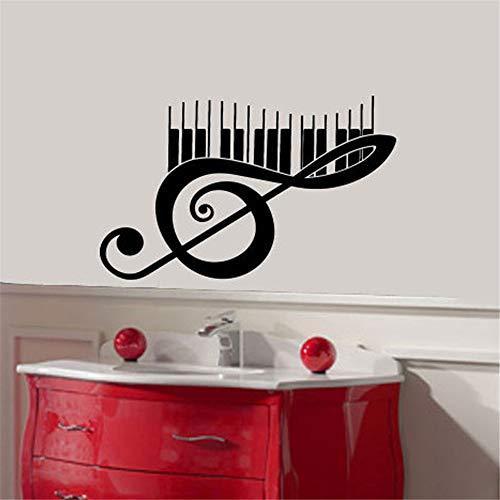 wlwhaoo Music Note Skala Violinschlüssel Wandaufkleber Wohnkultur Vinyl Kunstwand Wohnzimmer Schlafzimmer Dekoration Kinderzimmer Aufkleber rot 58x36 cm