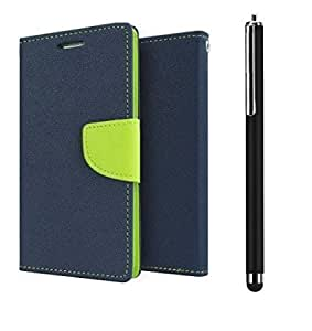 TOS Combo of Flip Cover with Stylus for Samsung Galaxy Trend Blue Green