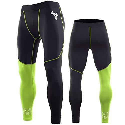 LINDANIG Kompressionshosen für Herren: Basisschicht: Cool Dry Sports Strumpfhosen-Leggings (Farbe : Grün, Size : XL)